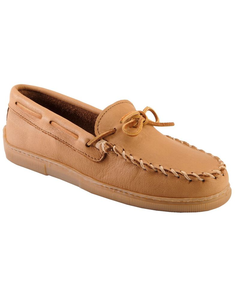 Men's Minnetonka Moosehide Classic Moccasins - XL, Natural, hi-res