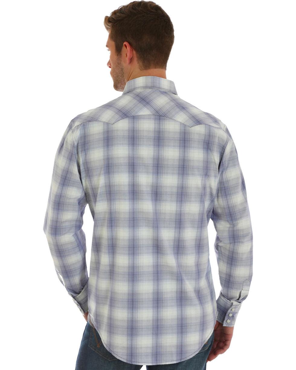 Wrangler Retro Men's Grey Plaid Long Sleeve Shirt , Purple, hi-res