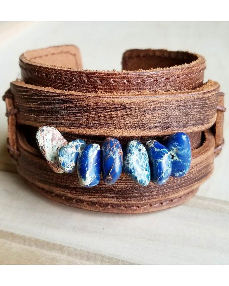 Jewelry Junkie Women S Regalite Gemstone Pearl Dusty Leather Cuff Bracelet Navy Hi Res