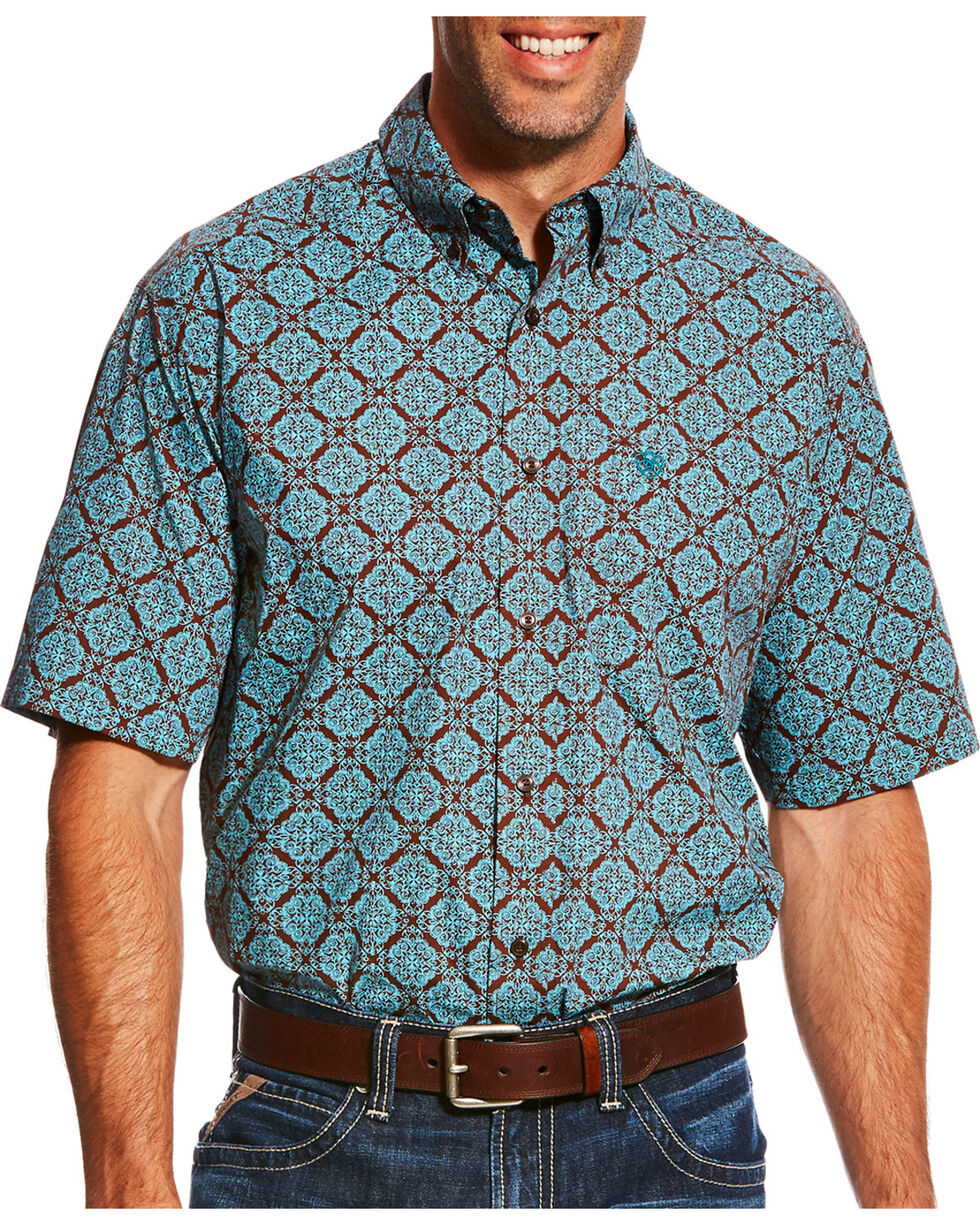 Ariat Men's Blue Norfolk Print Short Sleeve Shirt , , hi-res