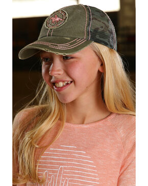 Cruel Girl Camo Patch Trucker Cap, Green, hi-res