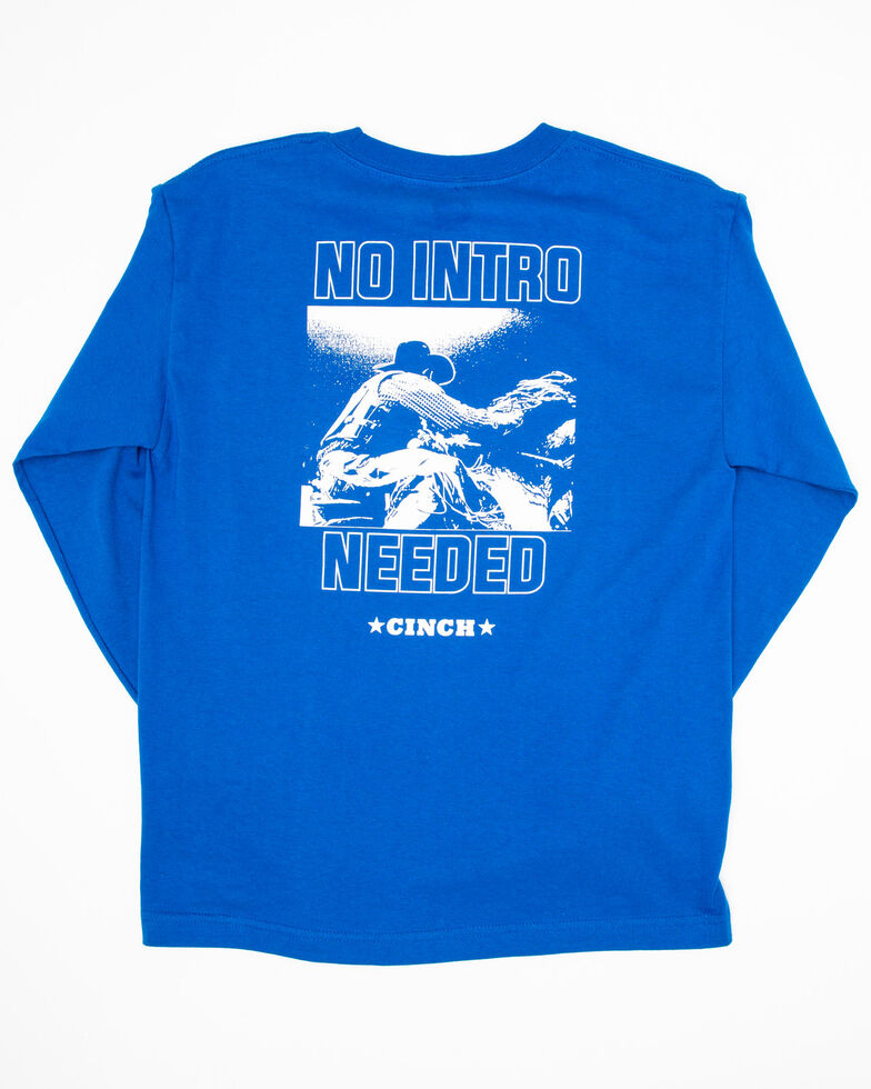 Cinch Boys' No Intro Needed Graphic Long Sleeve Shirt , Royal Blue, hi-res