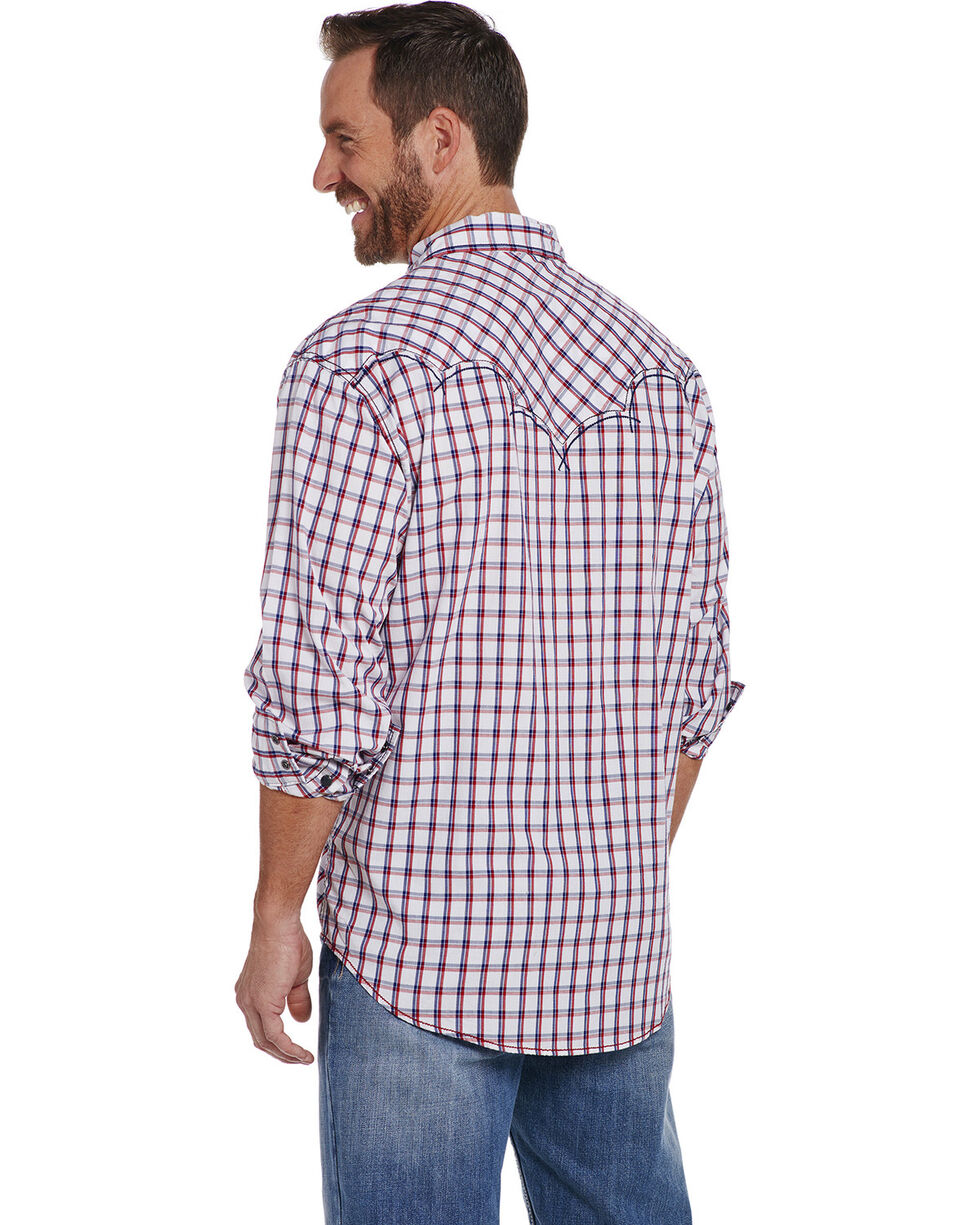 Cowboy Up Men's Two Chest Pocket Enzyme Wash Shirt , White, hi-res