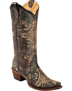 Circle G Women's Crackle Embroidery Western Boots, Black, hi-res