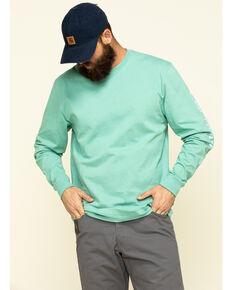 Carhartt Men's Green Signature Sleeve Logo Long Sleeve Work T-Shirt - Big , Green, hi-res