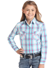 White Label by Panhandle Girls' Turquoise Plaid Snap Long Sleeve Western Shirt, Turquoise, hi-res