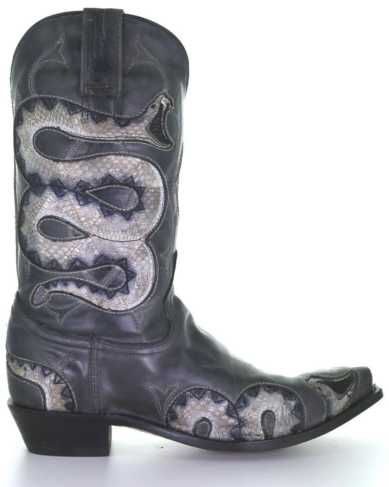 Corral Men's Black Snake Inlay Western Boots - Snip Toe, Black, hi-res