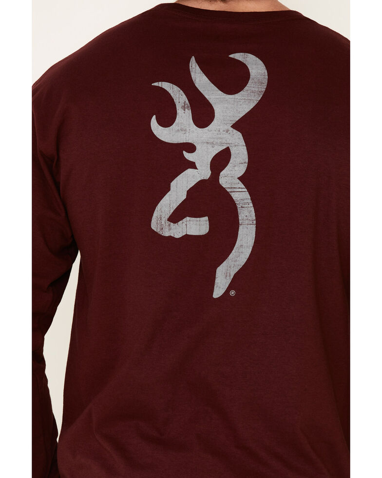 Browning Men's Distressed Buck Mark Graphic Long Sleeve T-Shirt , Maroon, hi-res