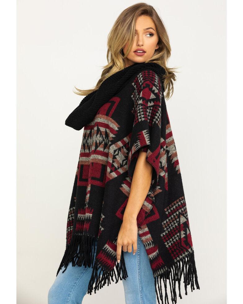 Cripple Creek Women's Black Aztec Navajo Blanket Fringe Cowl Poncho , Black, hi-res