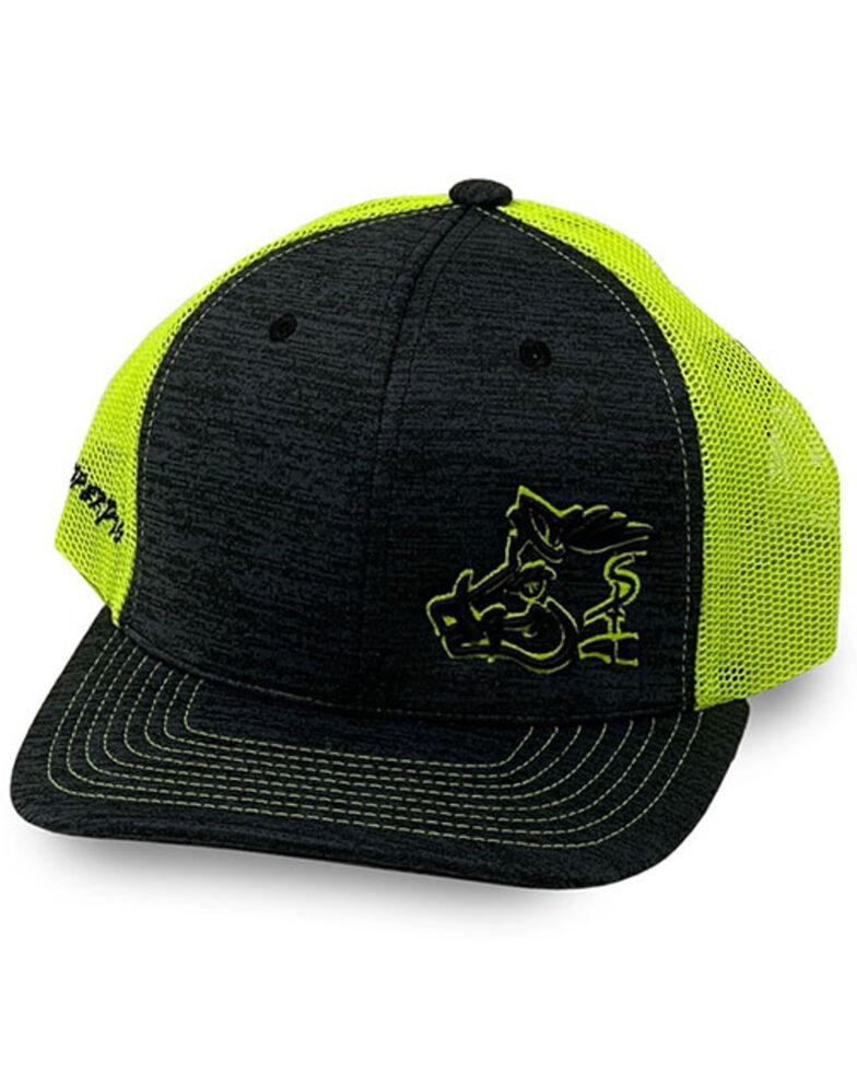 Oil Field Hats Men's Lime Green Sniper Pig Puff Outline Mesh-Back Ball Cap, Black, hi-res