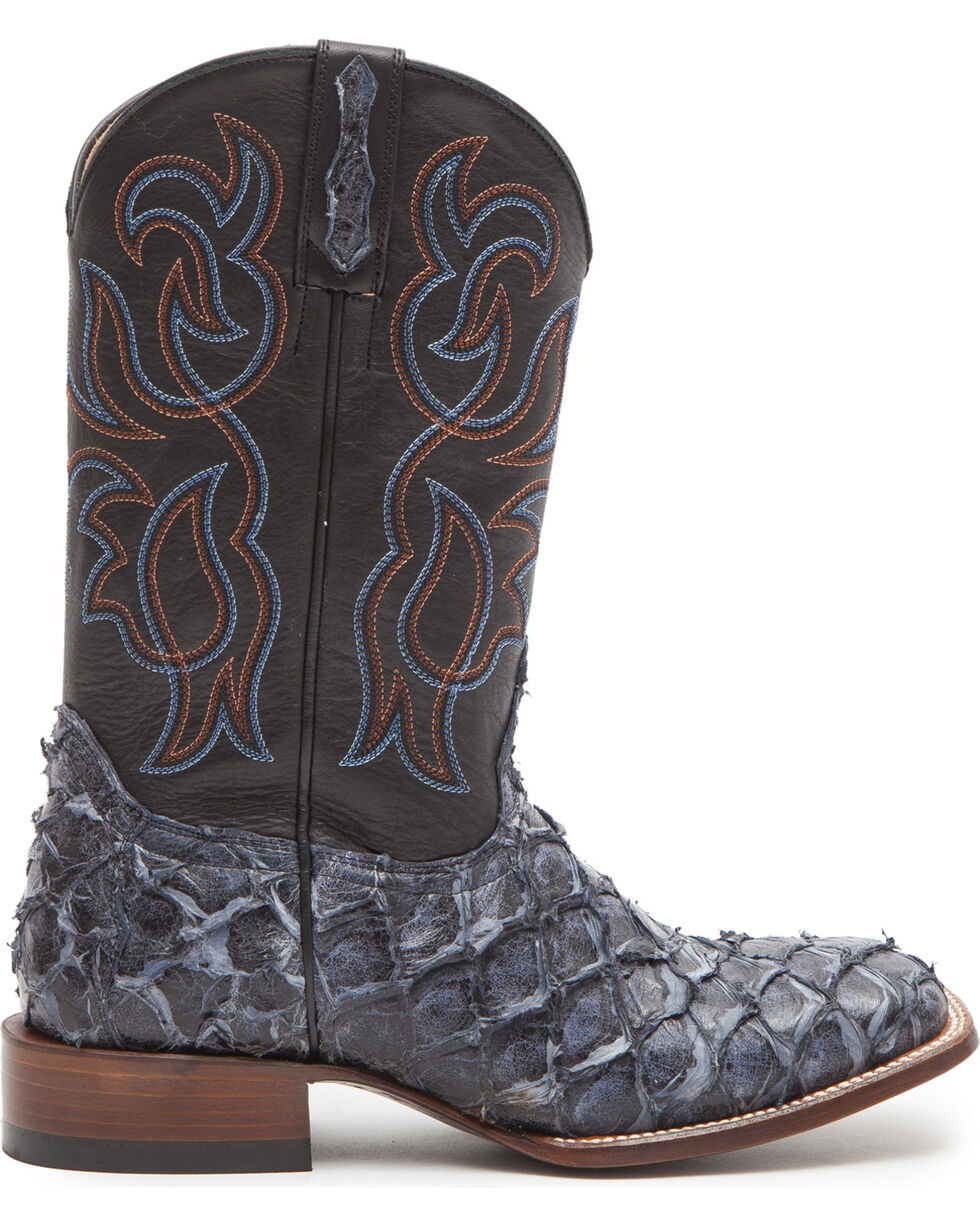 Cody James Men's Navy Pirarucu Exotic Boots - Square Toe, Navy, hi-res