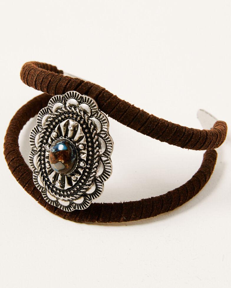 Shyanne Women's Claire Large Concho Wrap Bracelet, Silver, hi-res
