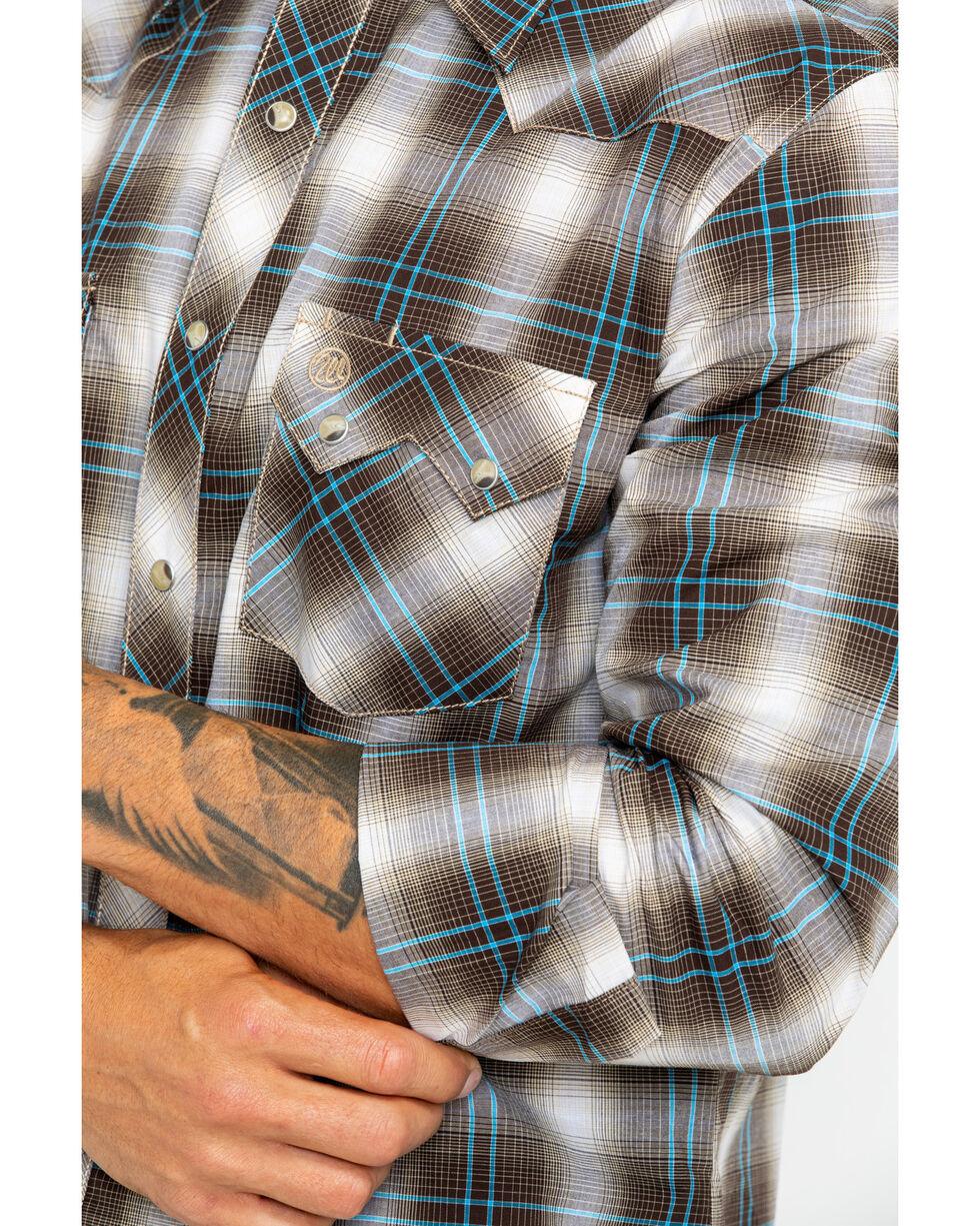 Wrangler Men's Retro Brown Plaid Long Sleeve Western Shirt , Brown, hi-res