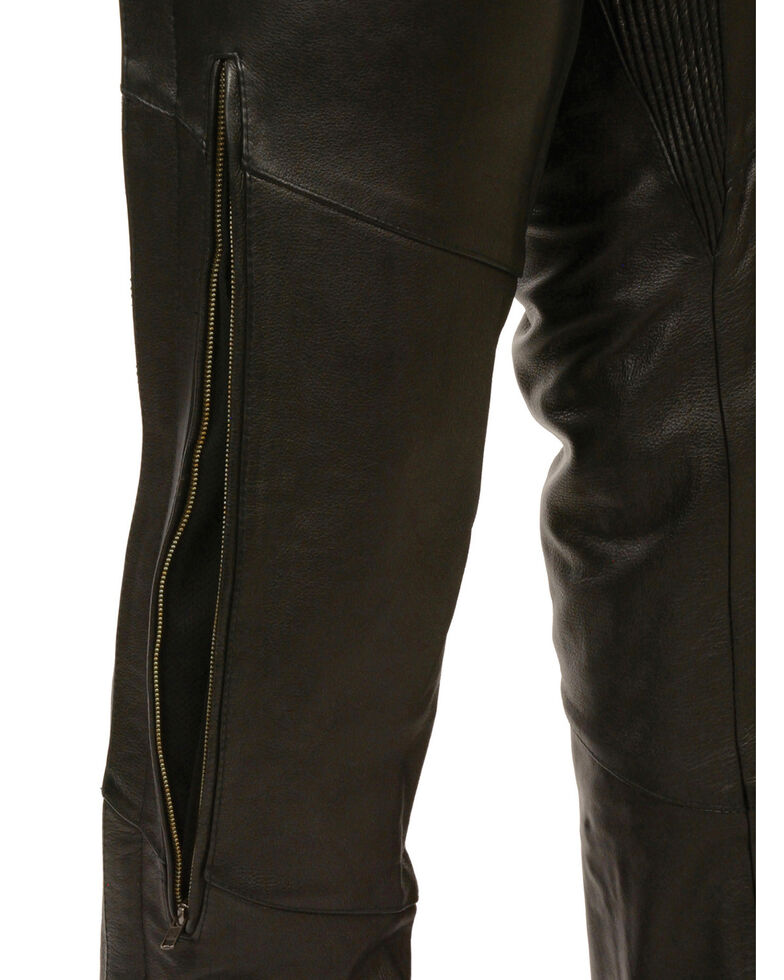 Milwaukee Leather Men's Stretch Thigh Vented Chaps - 5X, Black, hi-res