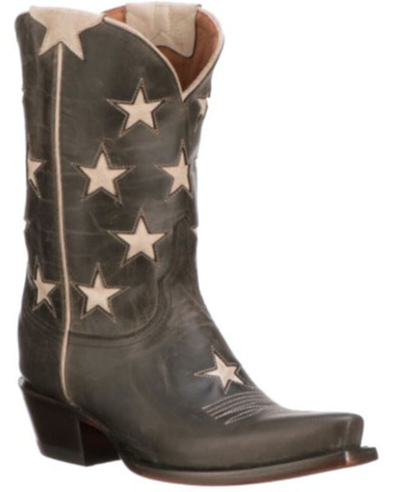 Lucchese Women's Anthracite Star Western Boots - Snip Toe, Grey, hi-res