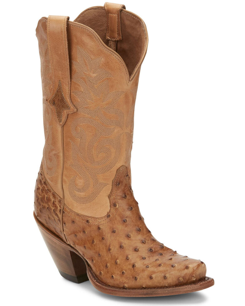 Tony Lama Women's Mindy Saddle Western Boots - Snip Toe, Tan, hi-res