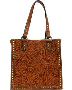 Blazin' Roxx Women's Tooled Tote Bag, Tan, hi-res