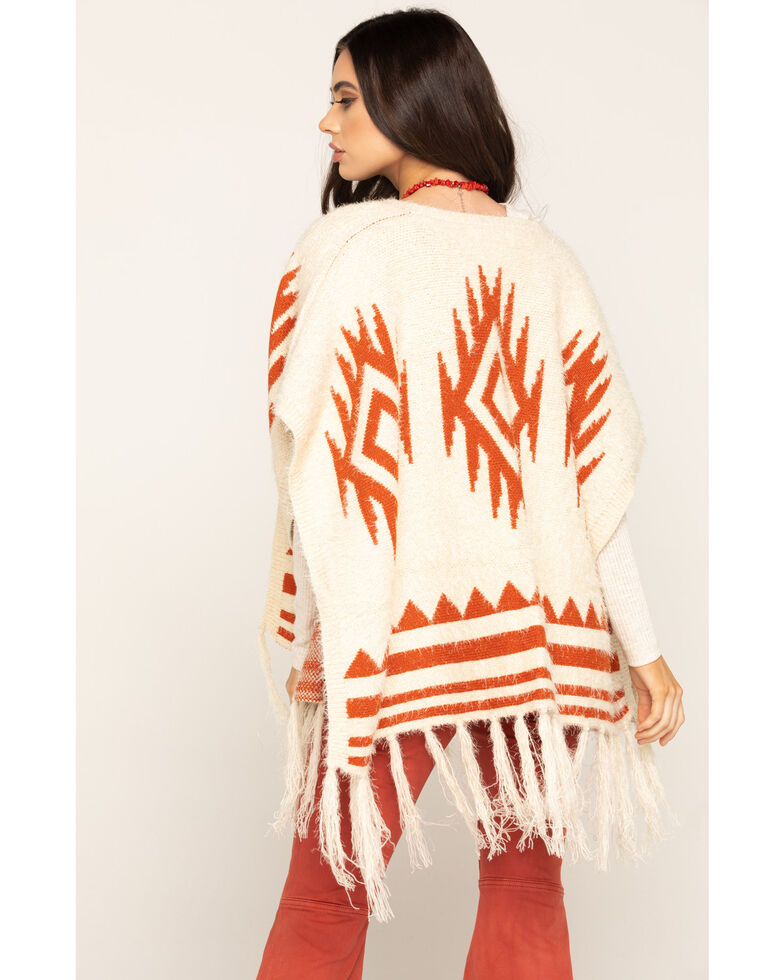 San Diego Hat Co. Women's Open Front Aztec Poncho, Rust Copper, hi-res