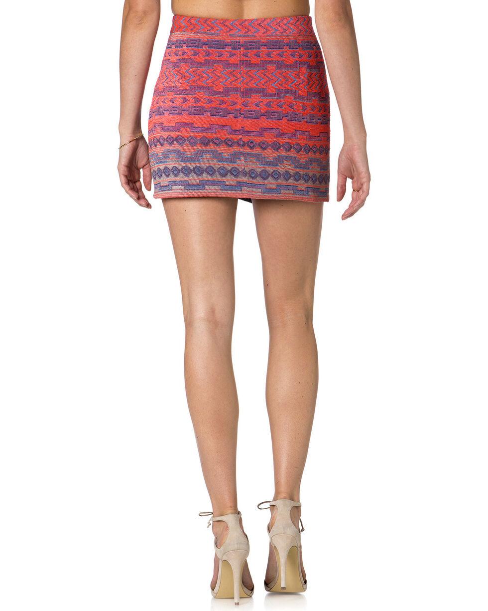Miss Me Multi-Color Jacquard Front Zip Skirt , Multi, hi-res