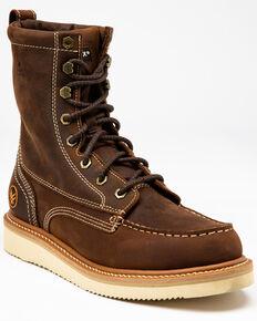 "Hawx Men's 8"" Lacer Work Boots - Soft Toe, Brown, hi-res"