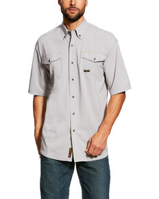 Ariat Men's Alloy Rebar Made Tough Vent Short Sleeve Work Shirt - Tall , Grey, hi-res