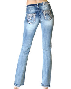 Grace in LA Women's Medium Decorative Pocket Bootcut Jeans, Blue, hi-res
