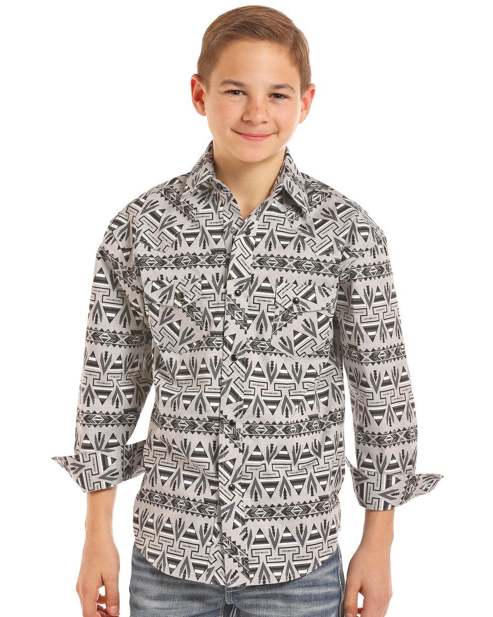 Rock & Roll Cowboy Boys' Aztec Chambray Print Long Sleeve Western Shirt , Black, hi-res