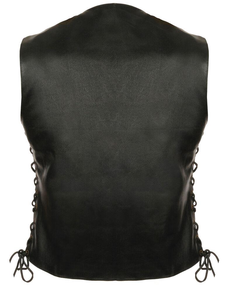 Milwaukee Leather Women's 6 Pocket Side Lace Vest - 5X, Black, hi-res