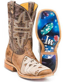 Tin Haul Men's High Roller Western Boots - Wide Square Toe, Brown, hi-res