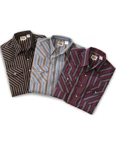 Ely Cattleman Men's Plaid Assorted Long Sleeve Western Shirt, Stripe, hi-res