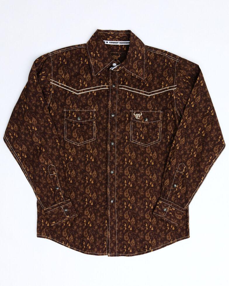 Cowboy Hardware Boys' Brown Paisley Print Long Sleeve Western Shirt , Brown, hi-res