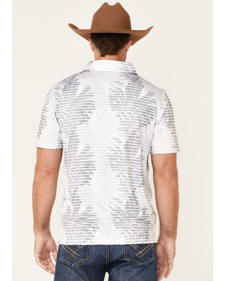 HOOey Men's Grey/White Leaf Print Weekender Short Sleeve Polo Shirt, White, hi-res
