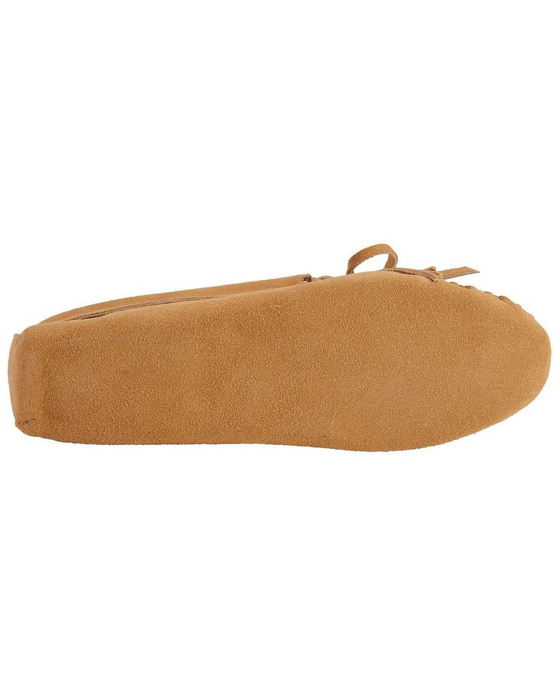 Women's Minnetonka Kilty Suede Softsole Moccasins, Taupe, hi-res