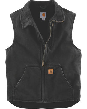 Carhartt Sherpa Lined Sandstone Duck Work Vest - Big & Tall, Black, hi-res