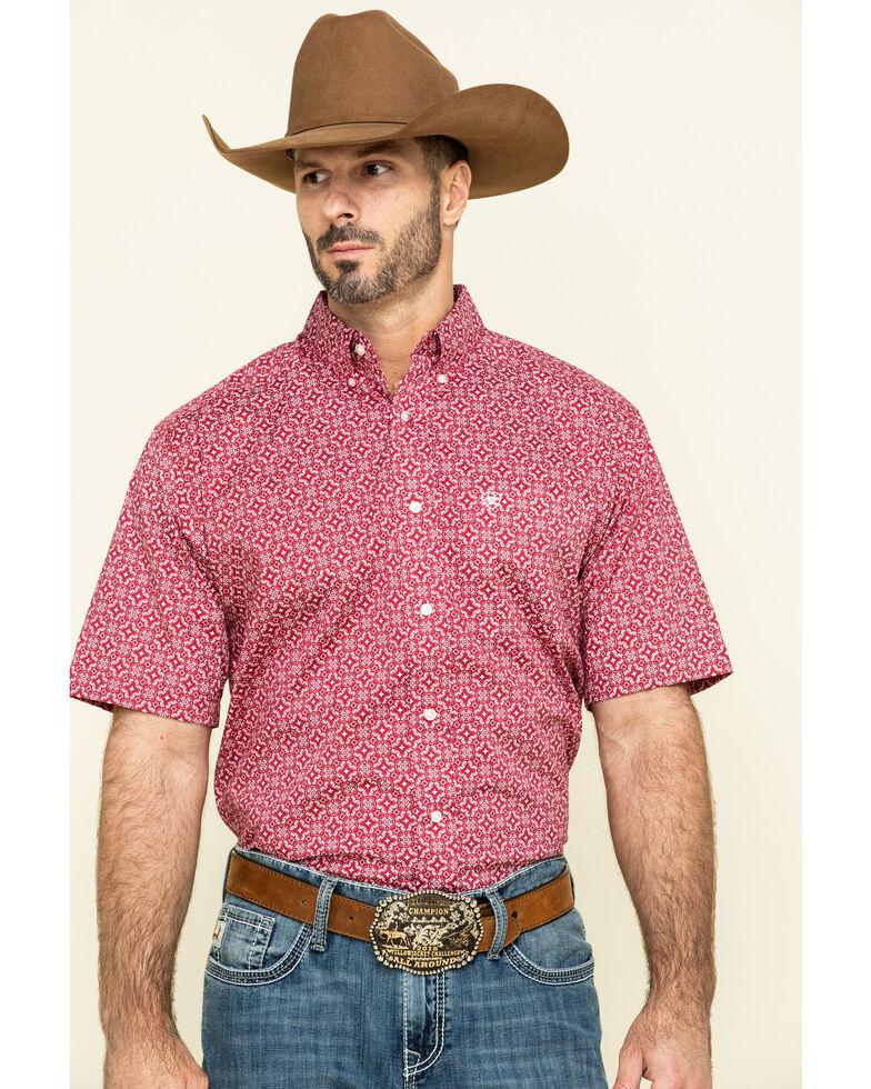 Ariat Men's Tillsmans Red Geo Print Short Sleeve Western Shirt , Red, hi-res