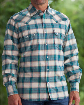 Ryan Michael Men's Ombre Navy Plaid 9 Western Shirt, Navy, hi-res