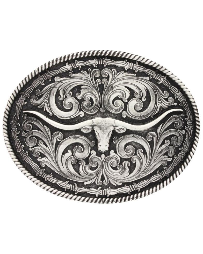Montana Silversmiths Long Horn Attitude Belt Buckle, Silver, hi-res