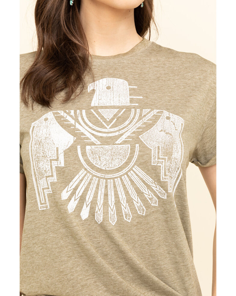 White Crow Women's Olive Flocked Thunderbird Rolled Cuff Tee, Olive, hi-res