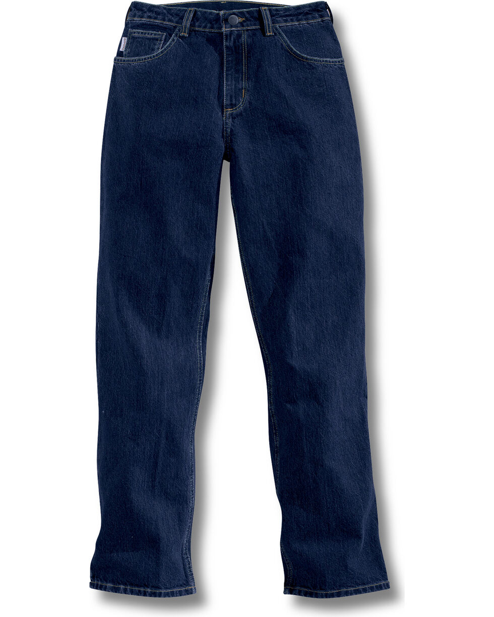 Carhartt Women's Flame-Resistant Relaxed Fit Jeans, Navy, hi-res