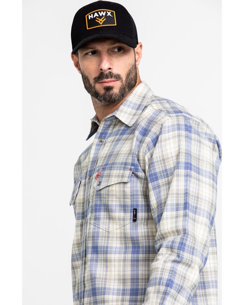 Ariat Men's FR Gulfstream Plaid Long Sleeve Work Shirt , Multi, hi-res