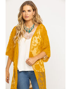 Jody of California Women's Lace Fringe Hem Kimono , Dark Yellow, hi-res