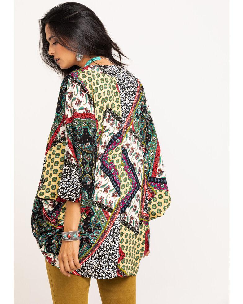 Nikki Erin Women's Multi-Color Patchwork Print Kimono, Dark Yellow, hi-res