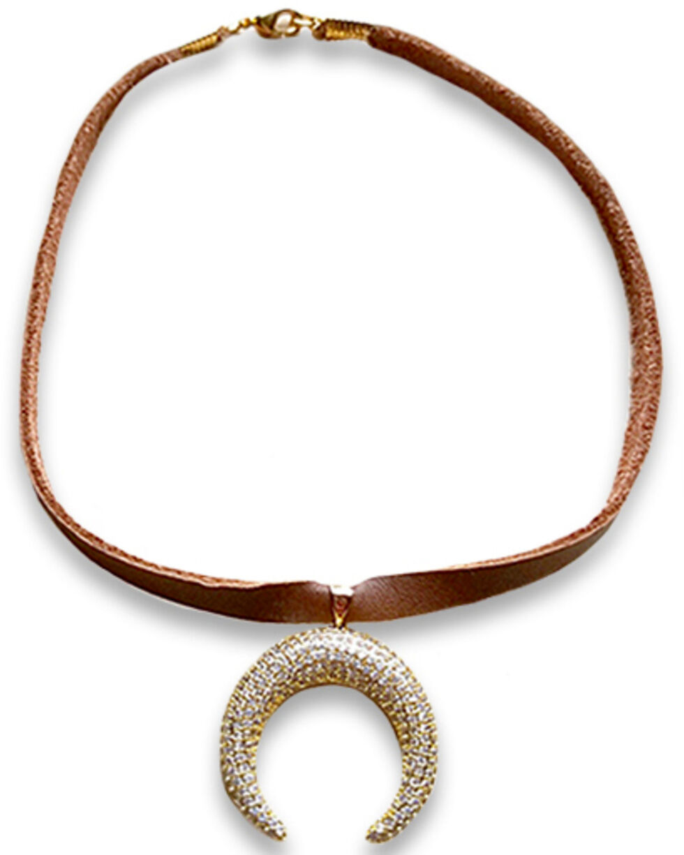 Jewelry Junkie Women's Leather Choker Necklace with Gold Pave Crescent, Gold, hi-res
