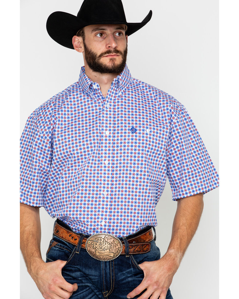 George Strait by Wrangler Men's Geo Print Button Long Sleeve Western Shirt , Red/white/blue, hi-res