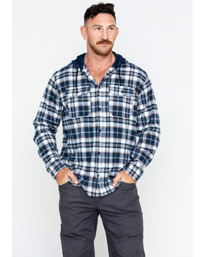 Hawx Men's Plaid Long Sleeve Hooded Work Flannel Shirt , Navy, hi-res