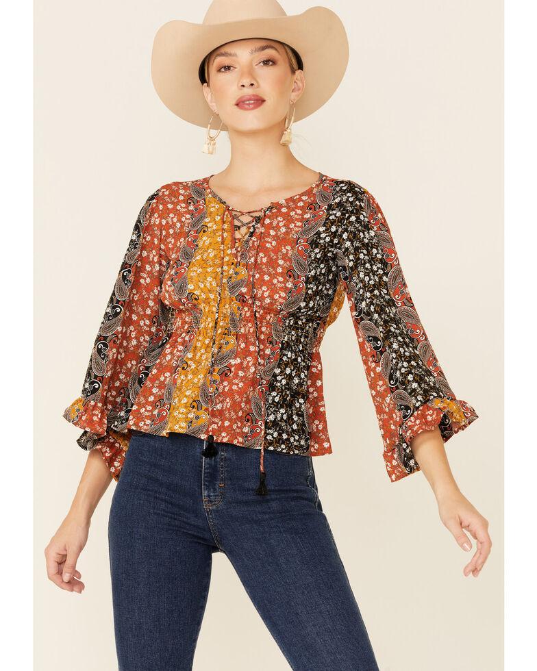 Shyanne Women's Rust & Navy Boho Floral Stripe Bell Sleeve Top , Black, hi-res