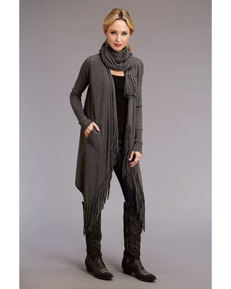 Stetson Women's Heather Knit Fringe Cardigan, Grey, hi-res