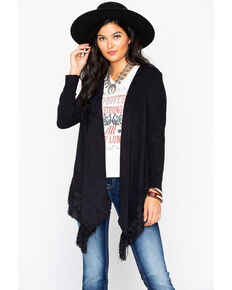 Cripple Creek Women's Microsuede Wrap Fringe Cardigan , Black, hi-res
