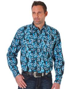 Wrangler 20X Men's Blue Paisley Print Advanced Comfort Long Sleeve Western Shirt , Blue, hi-res