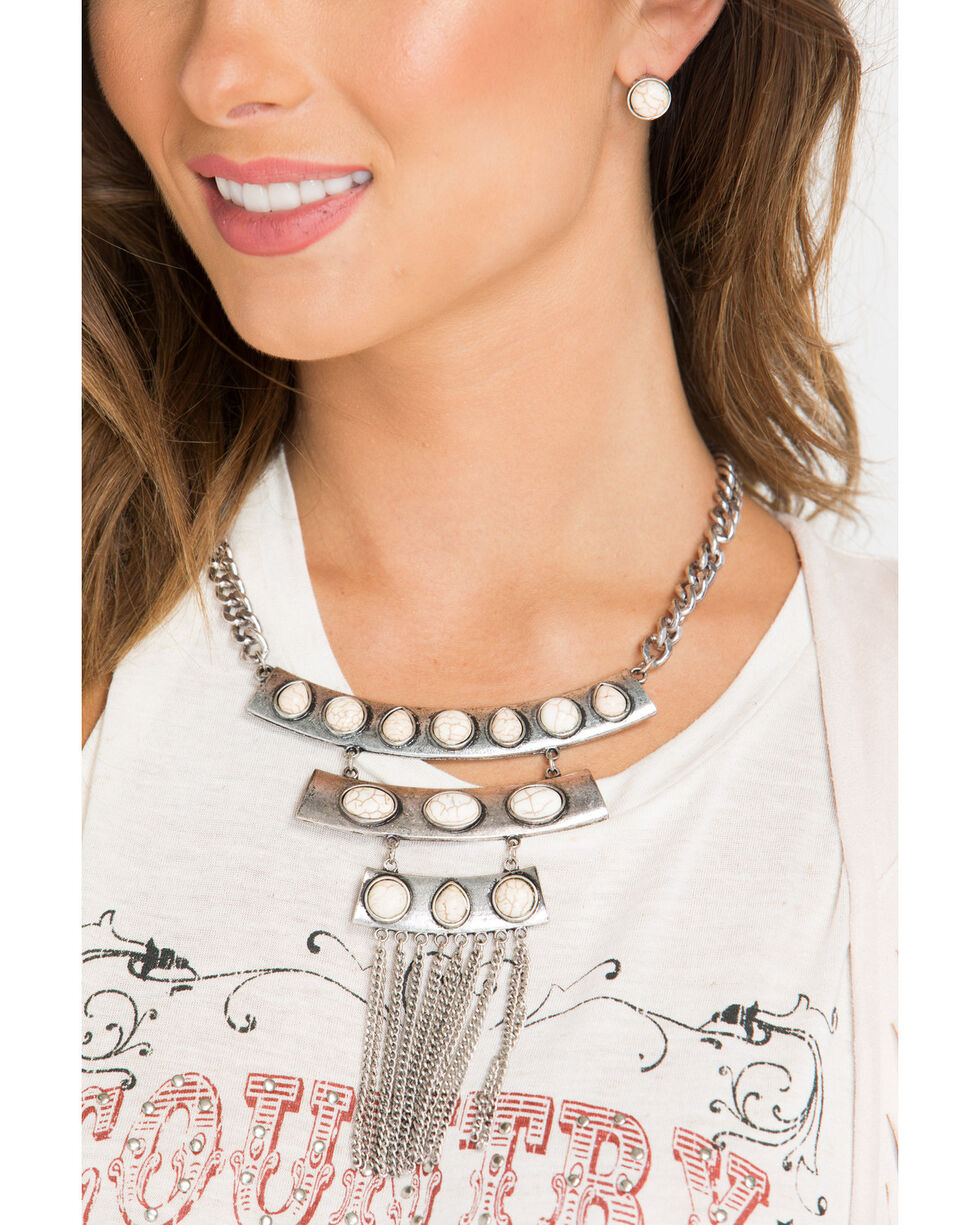 Shyanne® Women's Marble Ladder Jewelry Set, Silver, hi-res